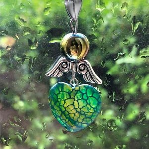 Green Blue Dragon's Vein Heart Wings 925 Necklac…